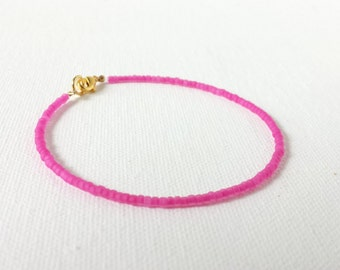 Hot pink bracelet, neon pink bracelet, seed bead jewelry, seed bead bracelet, dainty pink bracelet, minimalist bracelet,beaded bracelet