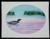 Loon Watercolor Painting Notecard - Card - Blank Notecard
