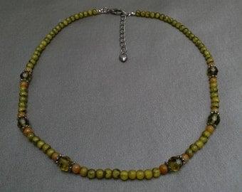 Earthy Semi Precious Stone and Crystal Necklace: Vintage Handmade Hippy Necklace