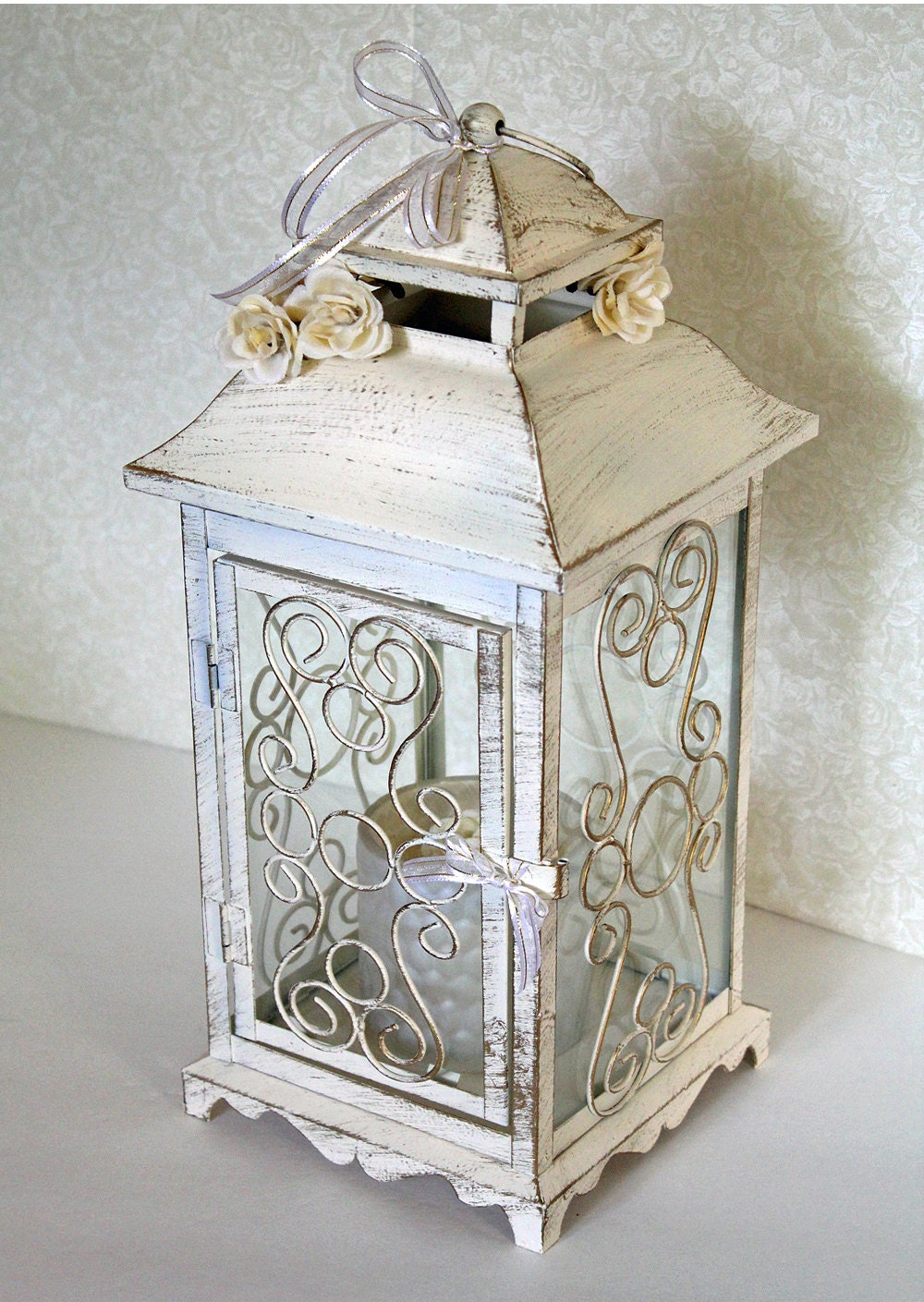 Wedding lantern centerpiece in vintage antique ivory