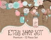 Etsy Shop Set - Business Card and Facebook Cover Photo - Etsy Branding - Etsy Avatar - Etsy Package - Blue Mason Jar Etsy Banner Set