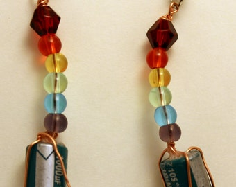 Wire wrapped capacitor earrings