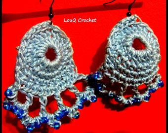 Blue drop earrings with beads.