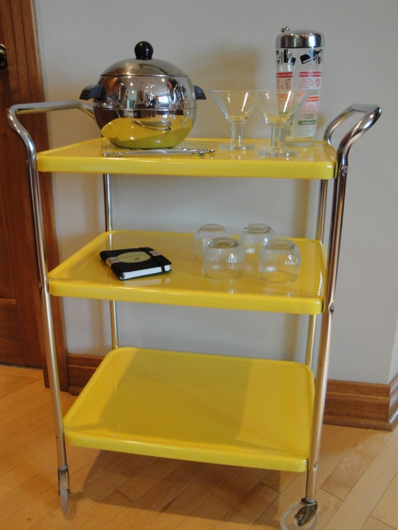 Vintage Cosco Restored Three Tier Tea Serving Cart Yellow