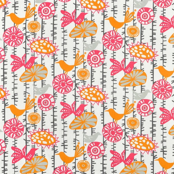 Items similar to hot pink birds fabric orange gray tan for Retro baby fabric