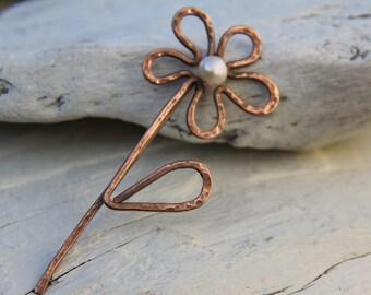 Shawl pin, copper daisy, flower shawl pin, scarf pin, sweater pin, brooch