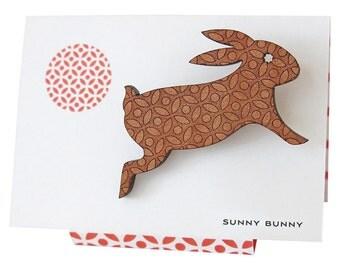 Sunny Bunny - Engraved Wooden Rabbit Brooch