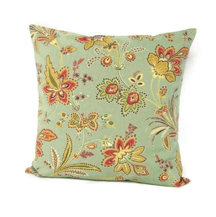 Seafoam Sage Floral Pillow Cover Olive Coral Botanical