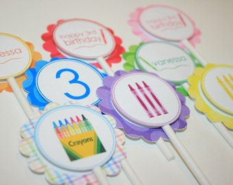 Crayon Birthday Party - 20 Cupcake Toppers