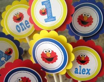 Elmo Birthday Party - 20 Cupcake Toppers - Elmo Boy