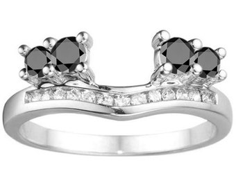 Solitaire Anniversary Ring Wrap - 10 Karat Gold with Black and White Cubic Zirconia (.34ct)