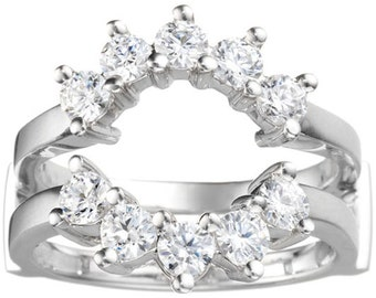 Sunburst Anniversary Ring Guard - Sterling Silver Ring Enhancer with .20ct White Cubic Zirconia