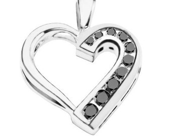 Sterling Silver Traditional Heart Shaped Pendant Charm with Black Diamonds