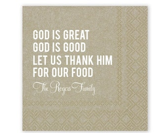 Set of 100 God is Great Blessing Personalized Napkins