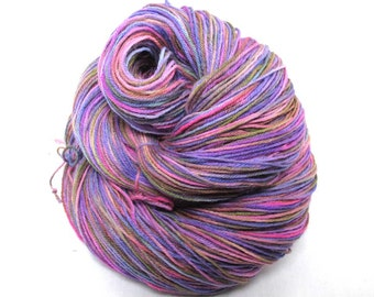 Hand Painted Sock Yarn.  Superwash BFL, Nylon. 4 ply. Pinks, purples and olive green.