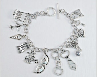 Fifty Shades of Grey Inspired Charm Bracelet SOLID Stainless Steel