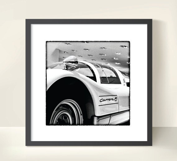 Porsche Carrera Race Car. Monochrome Automobile Photography. Black & White Print by OneFrameStories.