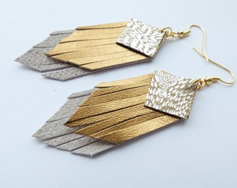 Fringed geometric tassel eco leather earrings, in twinkling silver, dark gold and light grey layers