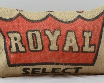 Burlap pillow, jute pillow, Decorative throw pillow, burlap pillow cover, Royal pillow, crown pillow