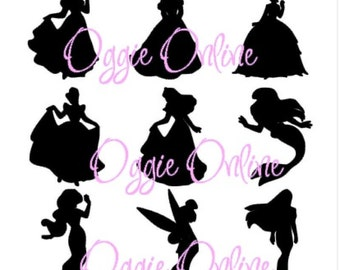 Princess Silhouette, Personalized Iron on Decal