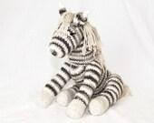 Hand Knit Pony Horse Natural Neutral Khaki Brown Cream White Stuffed Animal Toy 100% Cotton