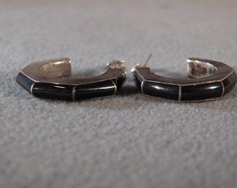Vintage Sterling Silver Half Hoop Earrings with Post Backs and Inset Black Onyx Stones     M