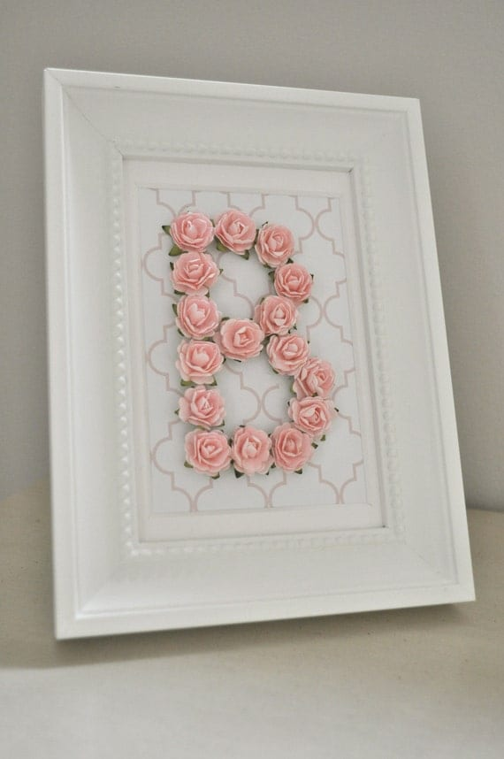 Rose Personalized Initial Frame CUSTOMIZABLE You Choose Letter