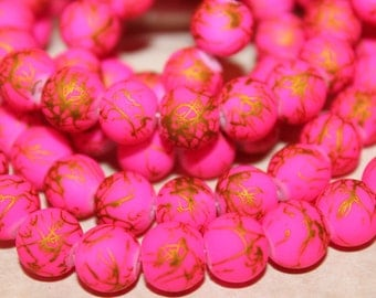 10mm Matte Neon Pink and Gold Rubberized Bracelet and Necklace  Beads 36 pcs