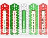Printable bookmark, red, green, Christmas, New Year 2014, long gift tags, reminder, holiday printables, DIY