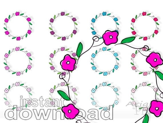 floral wreath clipart - flower circles- commercial use - download