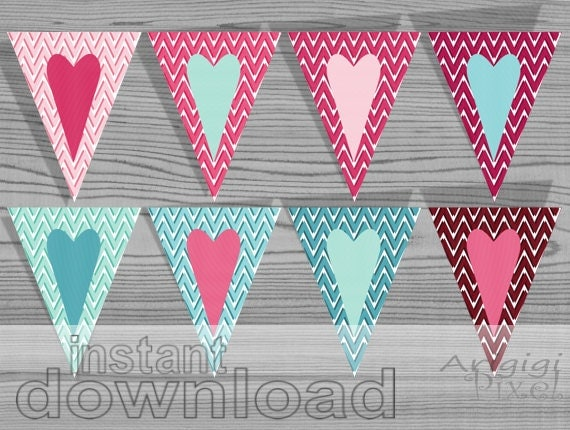 Valentine Printables Hearts Banners - Pink Blue - Chevron Pattern - Big Hearts - baby shower - wedding - ready to print