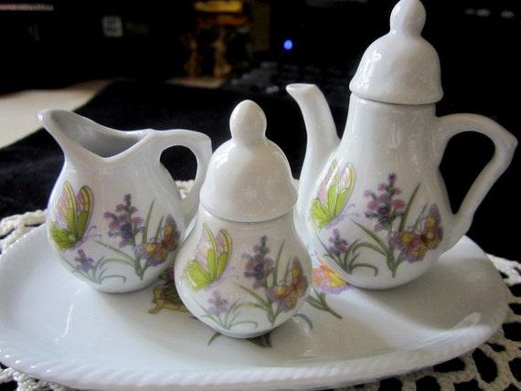 SALE:  Miniature Porcelain Tea Set - Doll House Tea Set - Butterfly & Floral 6 Pc Tea Set -Porcelain Tea Set- Dollhouse - Collectibles