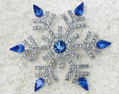 Blue Rhinestone Crystal Big Snowflake Pin Brooch Q371 - AnhsJewelry