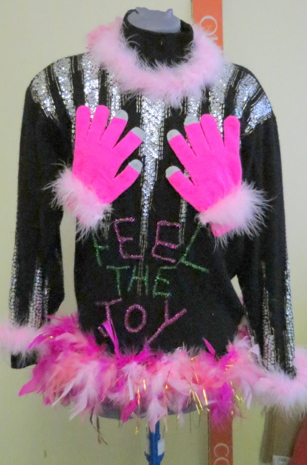 Feel The Joy Tacky Ugly Christmas Sweater Vest Foo Foo Feather