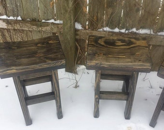 Unique Primtiques Black Stained Primitive Rustic Salvaged Wood Kitchen Bar STOOL Bench With Contour Seat 11-1/2x16.5x24h Custom Sizes Colors