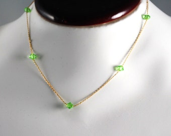 AUGUST Vintage Choker Necklace Bridesmaid Gift Vintage Fine Gold Filled Peridot Green Austrian Crystal Birthstone