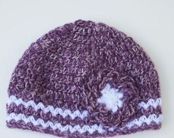 Crochet Hat With Flower, Crochet Toddler's Hat, Crochet Baby Hat Girls