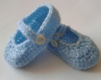 Sky Blue Mary Jane Shoes, Slippers, Pumps, Booties. 0-3 months