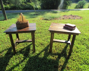Set of 2 Rustic, Solid Wood End Tables, Rustic Tables, Side Table, Bedside Table, Wood Table, Country Farmhouse Table, Farmhouse Living room