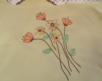 Vintage Tablecloth.  Gold with Brown, Orange and Yellow Hand Embroidered Floral Accents.  Oblong.