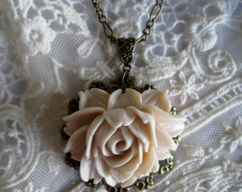 Victorian Ivory Rose Blooming in a Vintage Filigree Inspired Setting, Lovely Gift