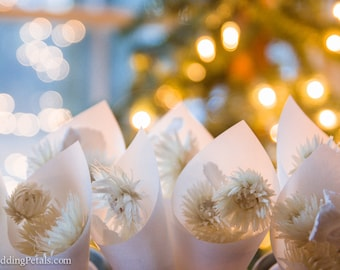 WINTER WEDDING,  White Flower Confetti, Biodegradable Petals, Frosted Vellum Cones, Bridal White Rose Petals, set of 20