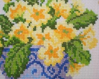Cross stitch sampler . Unframed Finished completed cross stitch .