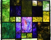 "Huge Minecraft Creeper Stained Glass Panel - 36"" x 33"""