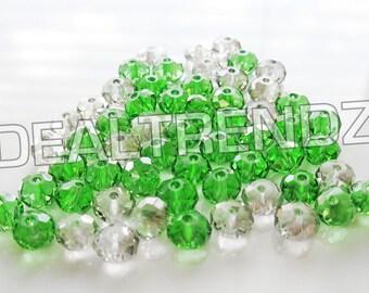 55 pcs ∥ 6mm rondelle ∥ smoke grey & grass green non ab swarovski crystals spacer beads jewelry supplies