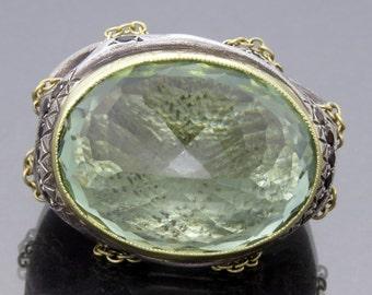 ALEN LAPIERRE-18K & SS  Green Citrine  Ring with Smoky Quartz