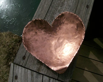 Copper Heart Bowl Hammered Hand Forged Blacksmith Made 7th Year Anniversary Gift for Men 7th Anniversary Personalized Gift For Women
