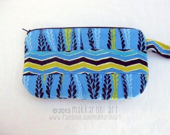 Zippered Wristlet/Clutch in Blue, Black Zipper OOAK