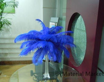 100pcs/lot 12-14inches perfect Royal Blue Ostrich feather plume for Wedding Table Centerpiece and Home Decor