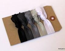 Black Ombre elastic ribbon hair ties, hair accessories, everyday basics, non damaging, gentle hair ties, gift set, ponytail, headbands